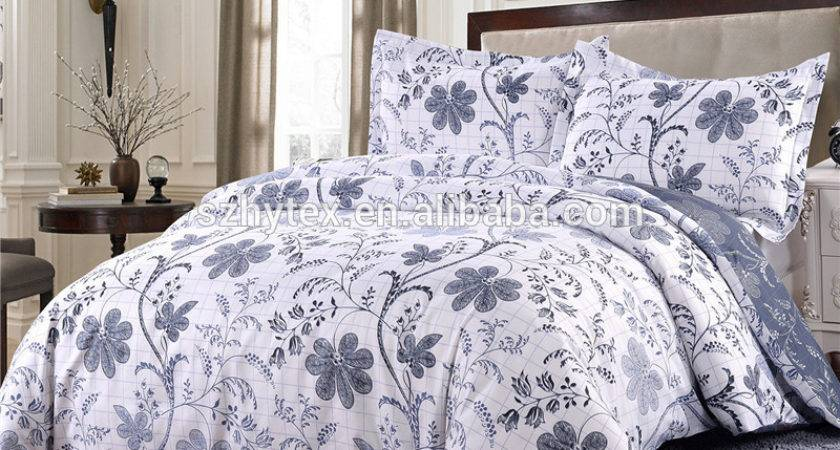Polyester White Floral Soft Bedding King Queen Duvet Cover