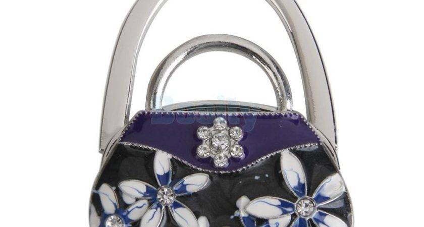 Porcelain Folding Rhinestone Handbag Purse Table Hook