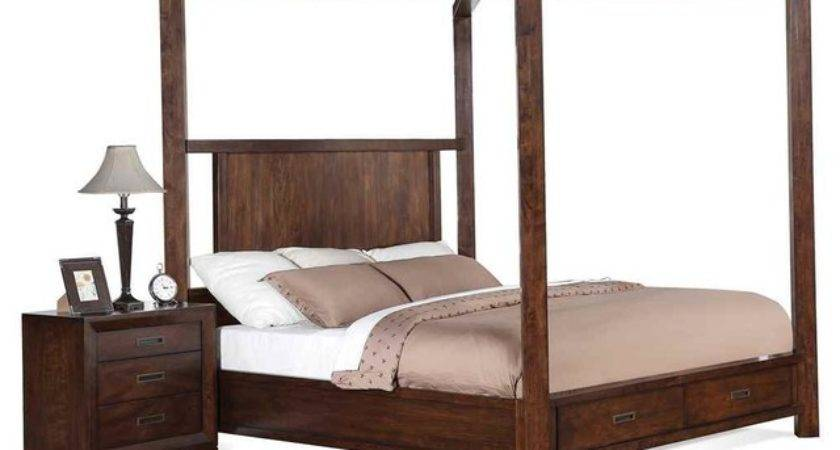 Poster Storage Canopy Bed King Contemporary