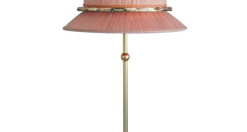 Pretty Table Lamp Console Silk Shade Silvered Glass Ring