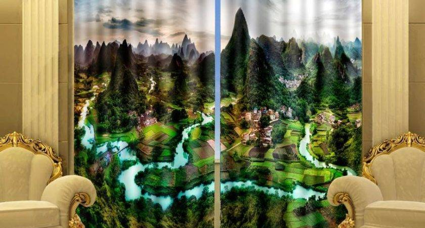 Print Stereoscopic Curtains Landscape Guilin