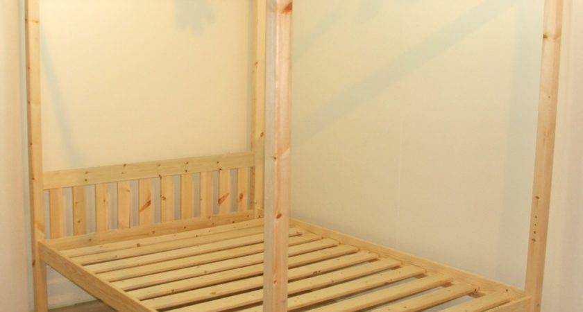 Quattro Double Four Poster Solid Pine Bed Frame