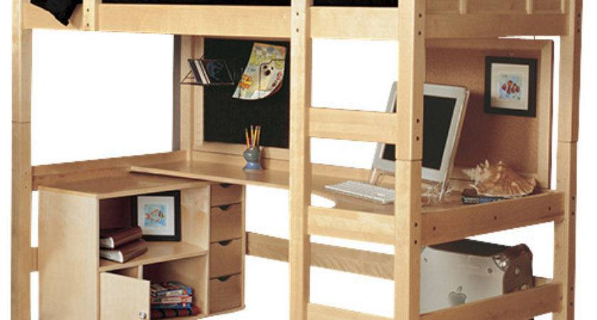Radia Twin Loft Bed Media Cart Contemporary