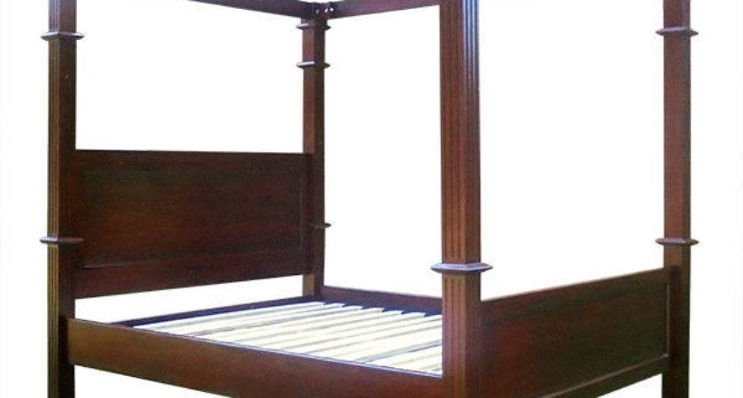 Reproduction Mahogany Four Poster Bed Frame Colonial Style
