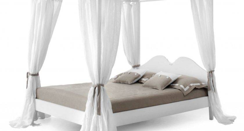 Romantic Bed Canopy Drapes White Curtains