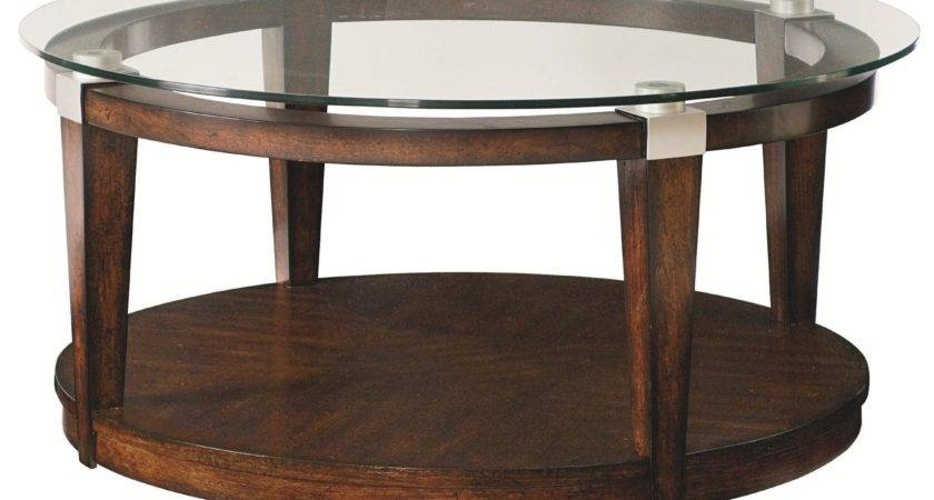 Round Glass Top Coffee Table Wood Base Here