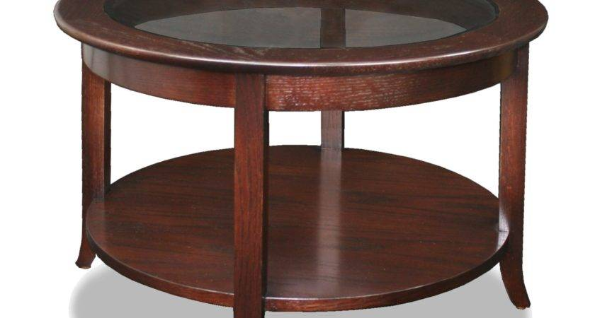 Round Glass Top Coffee Table Wood Base