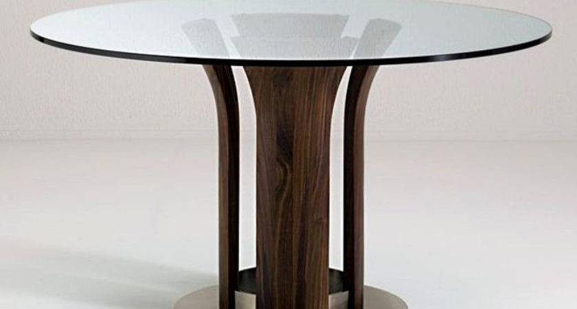 Round Glass Top Dining Table Wood Base Room