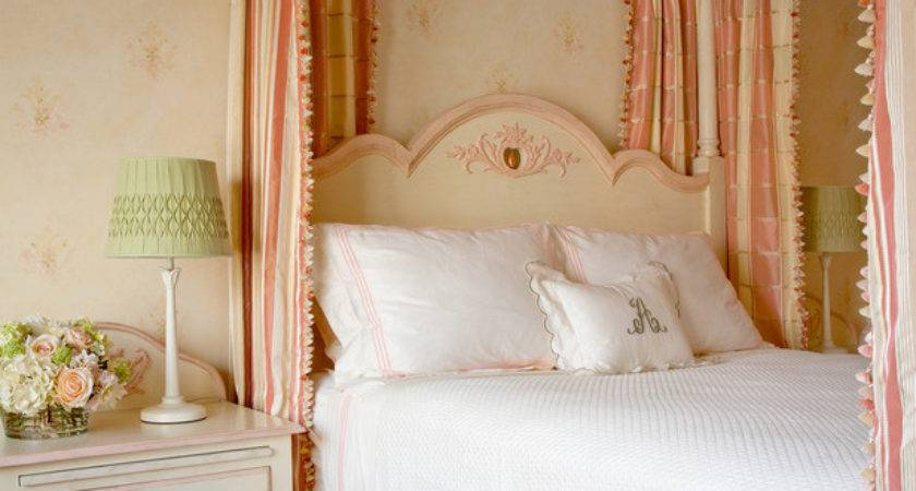 Shabby Chic Girl Bedroom Pink Striped Canopy