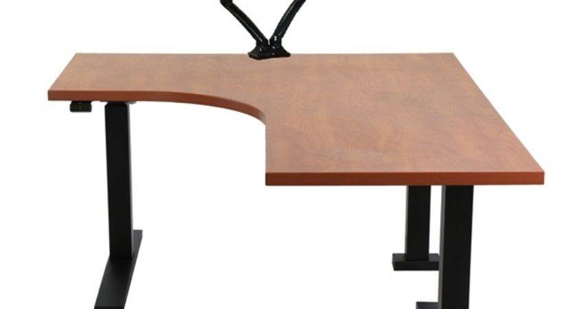 Shaped Adjustable Height Desk Surfaces