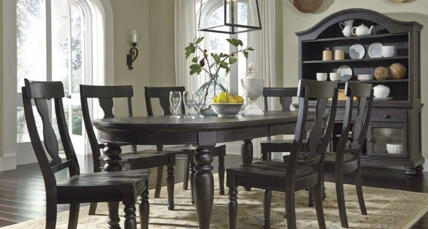 Sharlowe Charcoal Oval Extendable Dining Room Set