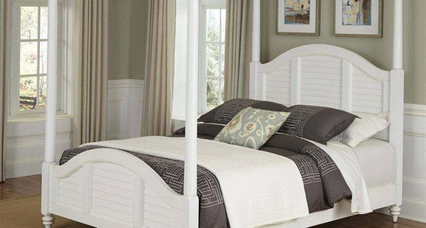 Shop Home Styles Bermuda White King Canopy Bed Lowes