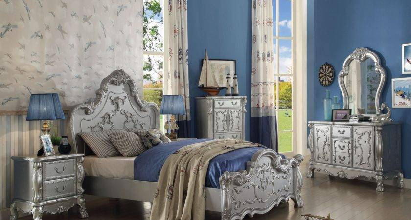 Silver Finish Dresden Youth Bedroom Set Collection