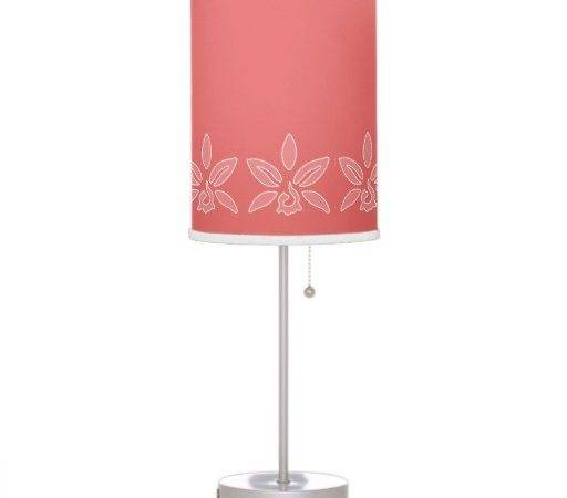 Simple Coral Pretty Light Red Flower Name Table Lamp