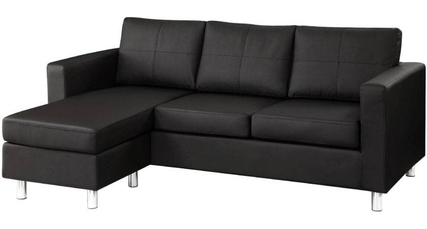 Small Black Sofa Modern Bonded Leather Sectional