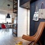 Small Modern Industrial Apartment Draped Metal Wood