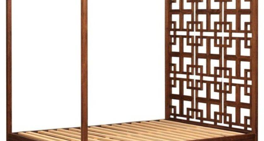 Solid Walnut Four Poster Bed Storage Contemporary