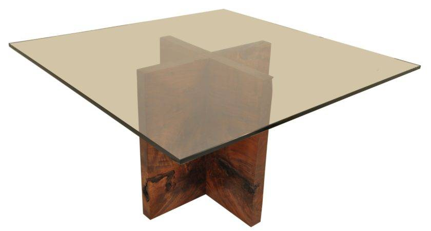 Square Glass Top Table Crossed Brown Wooden Legs