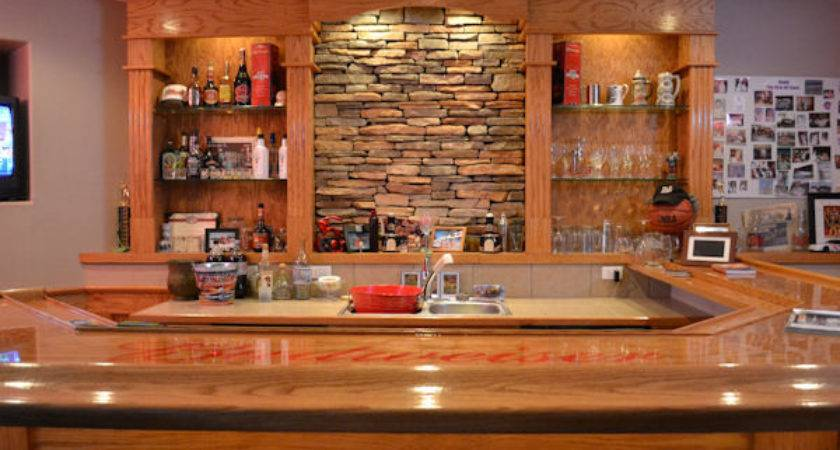 Stone Accent Wall Back Bar Britton Construction