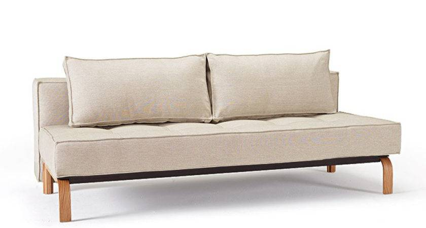 Stylish Fabric Upholstered Deluxe Sofa Bed Oak Legs