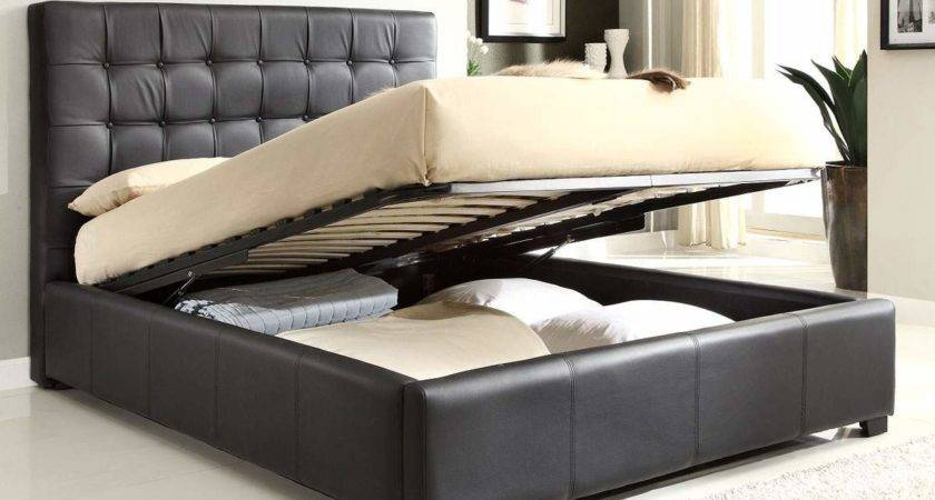 Stylish Leather High End Platform Bed Extra Storage