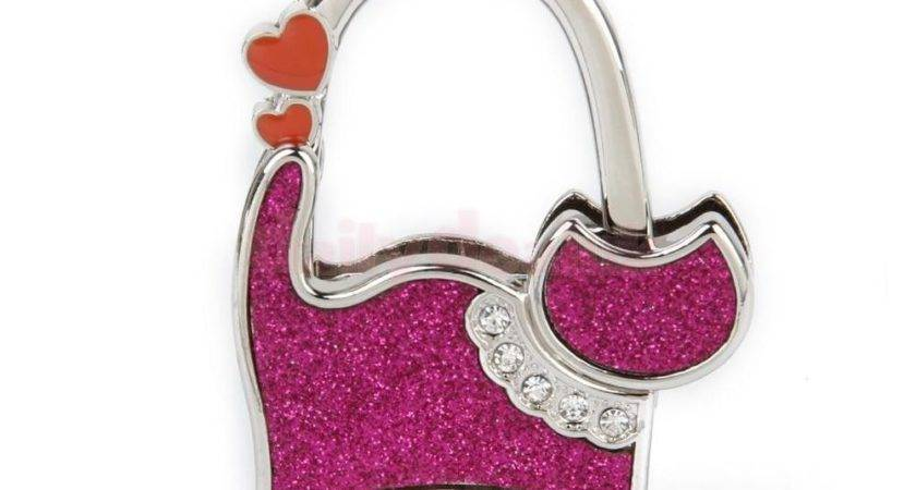 Table Cat Foldable Purse Bag Rhinestone Hanger Handbag
