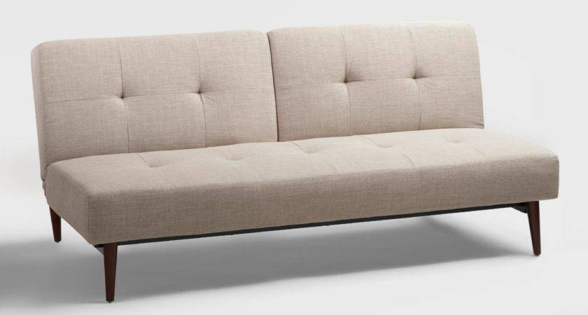 Taupe Woven Brock Convertible Sofa World Market