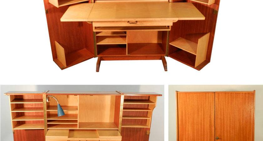 Teak Sycamore Compact Home Office Desk Storage