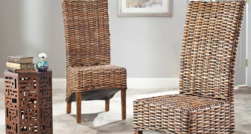 Thomas Isla Indoor Wicker Brown High Back Side Chairs