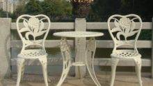 Three Piece Cast Aluminum Chairs Balcony Minimalist