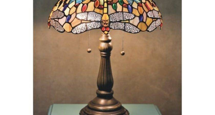 Tiffany Style Yellow Dragonfly Table Lamp Shipping