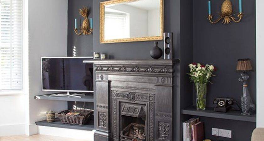 Traditional Living Room Grey Painted Feature Wall