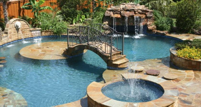 Tropical Backyards Pool Country Home Design Ideas