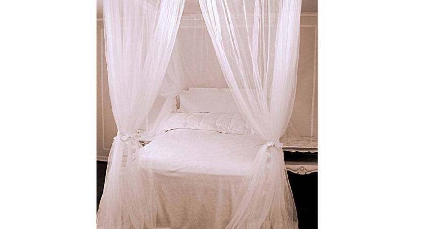 Twin Bed Canopy Chiffon Curtains Four Poster Panels