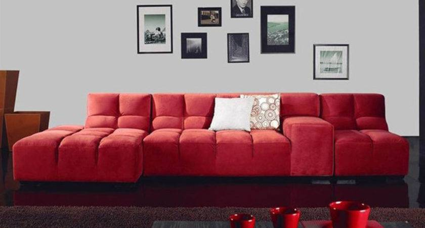 Unique Modern Leather Shape Sectional Contemporary