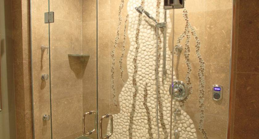 Unique Shower Wall Design White Pebble Tile Glass