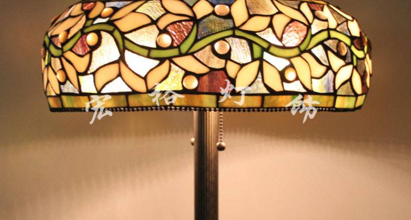 Upscale American Tiffany Stained Glass Floor Lamp Shade