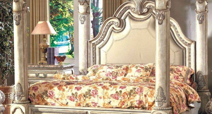 Victorian Style King Canopy Bed Antique White
