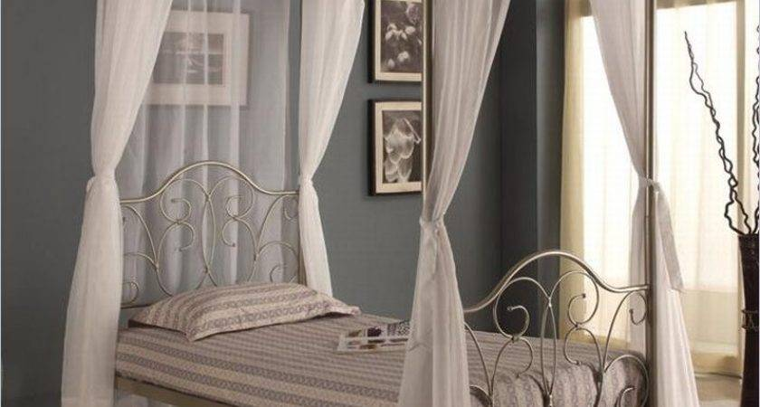 Walker Edison Metal Canopy Bed Curtains Pewter Ebay