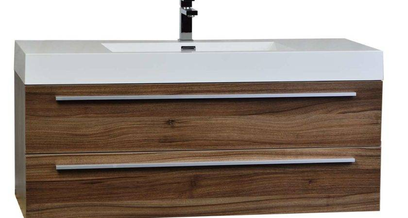 Wall Mount Contemporary Bathroom Vanity Walnut