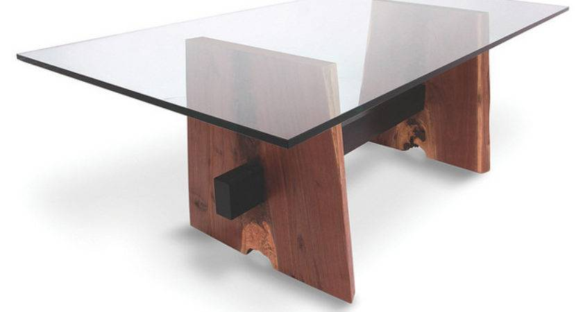 Walnut Dining Table Glass Top Natural Edge Wood Base