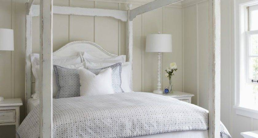 White Canopy Bed Cottage Bedroom Muskoka Living