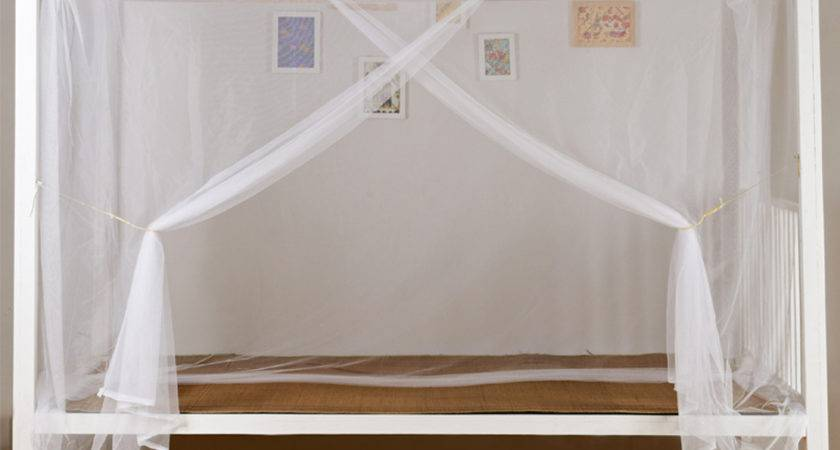 White Four Corner Post Bed Canopy Frame Mosquito Twin