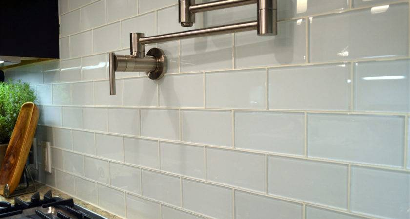 White Glass Subway Tile Kitchen Modern Backsplash