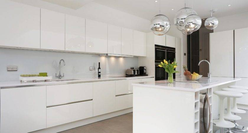 White Gloss Lacquer Cabinets Kitchen Contemporary