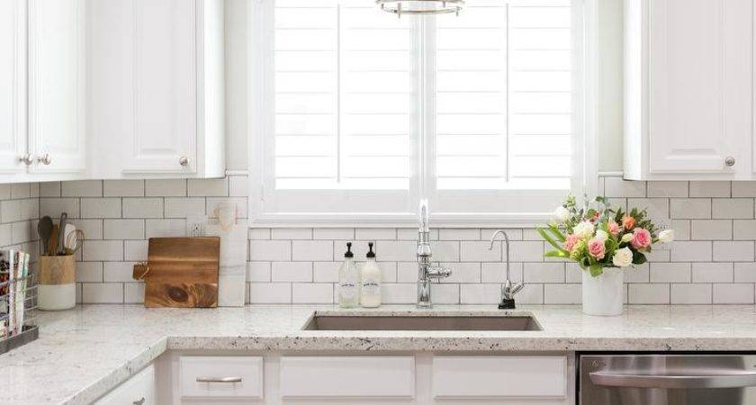 White Granite Kitchen Countertops Subway Tile