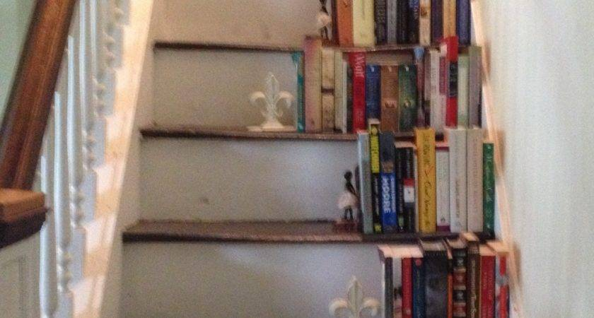 White Painted Wooden Bookcase Stairs Ladder