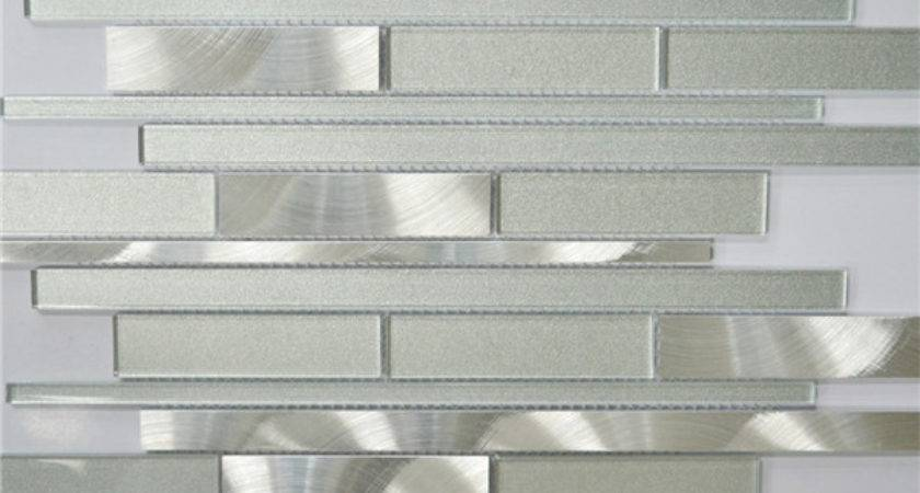 White Silver Interlocking Metal Glass Mosaic Tile