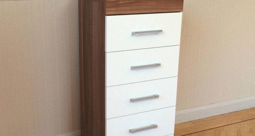 White Walnut Tall Boy Chest Drawers Bedroom