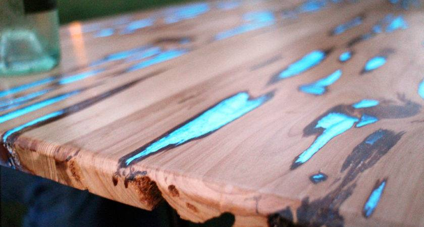 Wood Tables Embedded Photoluminescent Resin Mike